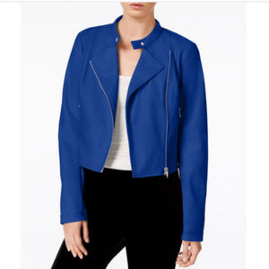 Bar III Vegan-Leather Moto Jacket Blue